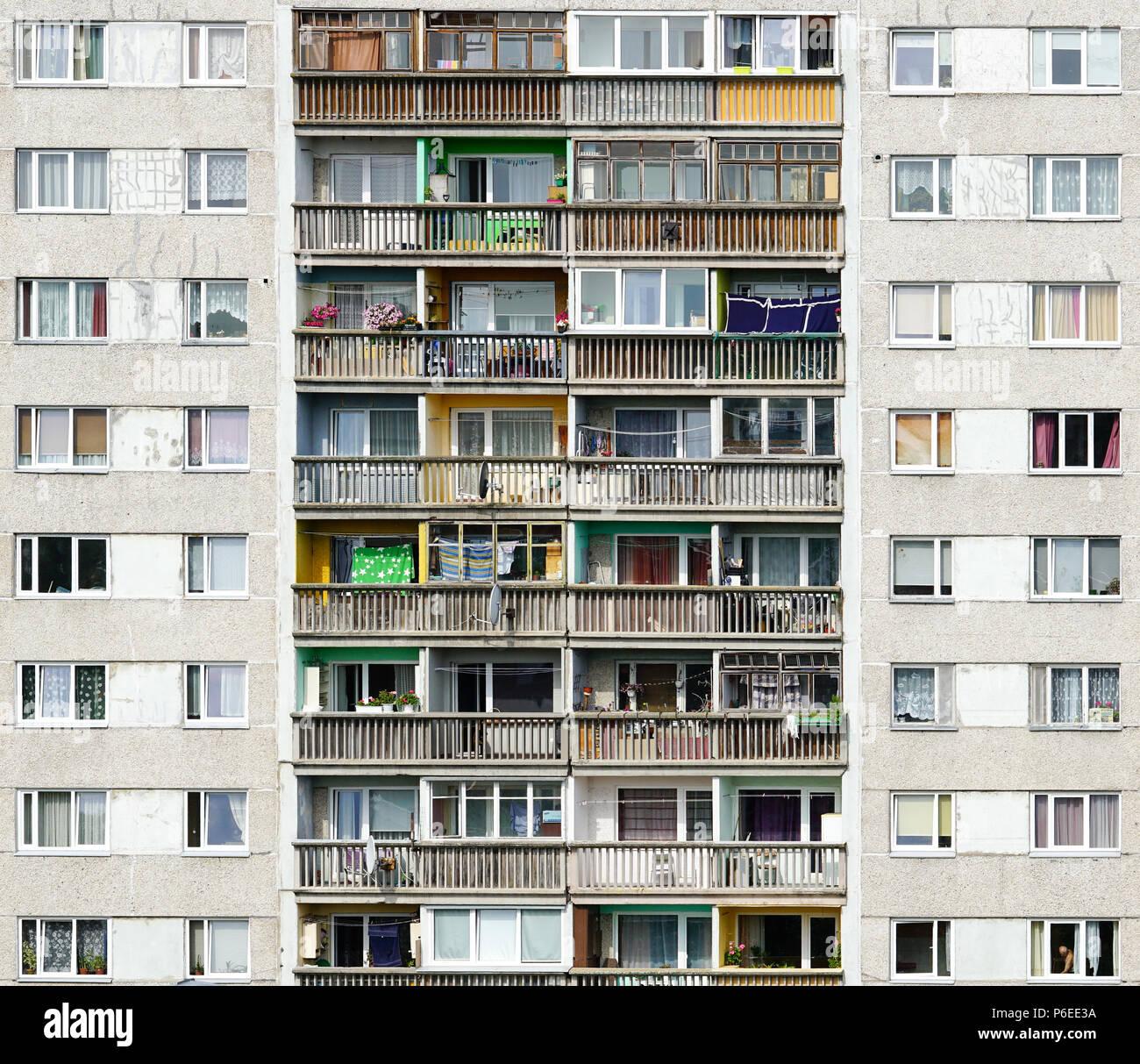 poor block of flats - Stock Image