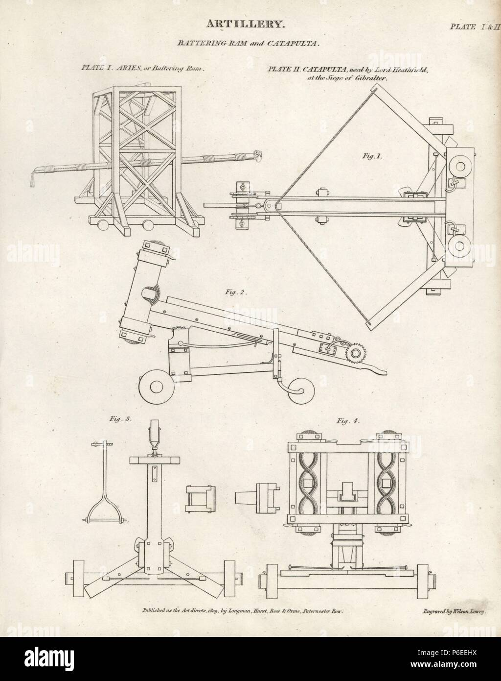 Artillery: Aries or wooden battering ram and catapult used ... on