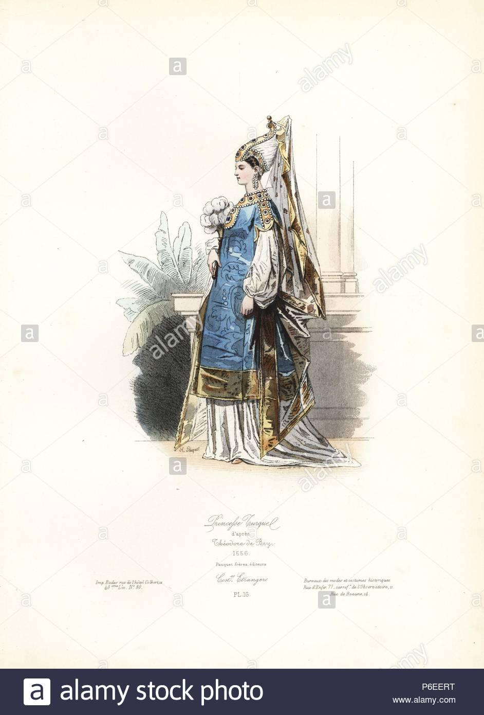 Turkish princess, after Theodore de Bry, 1556. Handcoloured steel ...