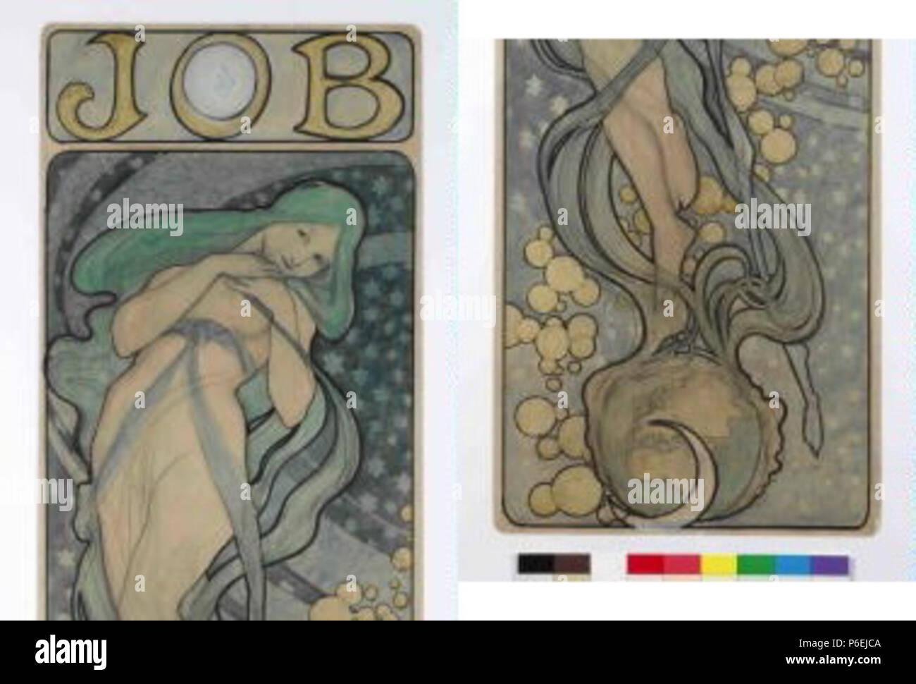 .  eština: Návrh na plakát JOB  circa 1897 6 Autor Alfons Mucha 24.7.1860-14.7.1939 - Navrh na plakat JOB Stock Photo