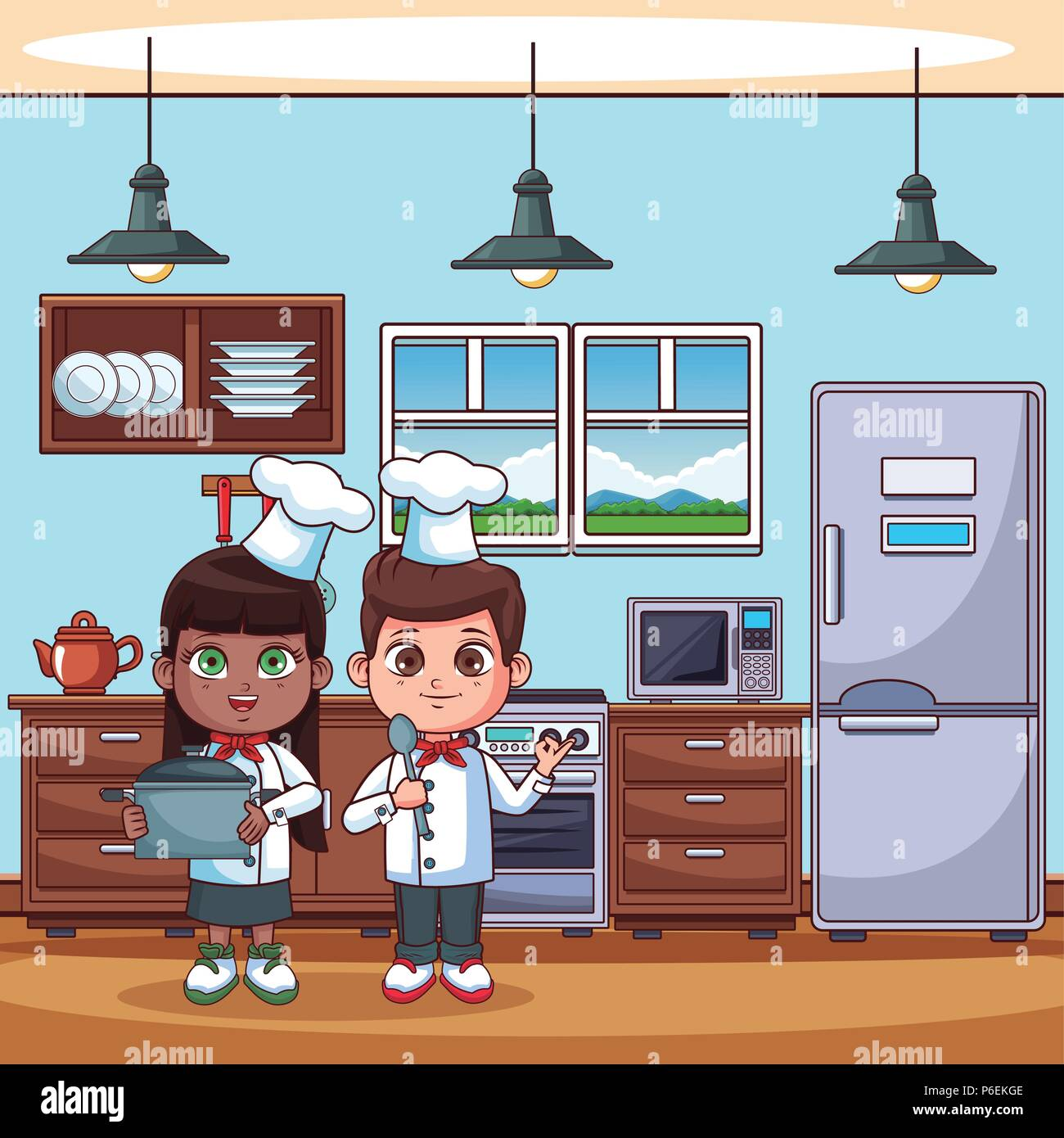 Chef kids cooking at kitchen cartoons vector illustration graphic ...