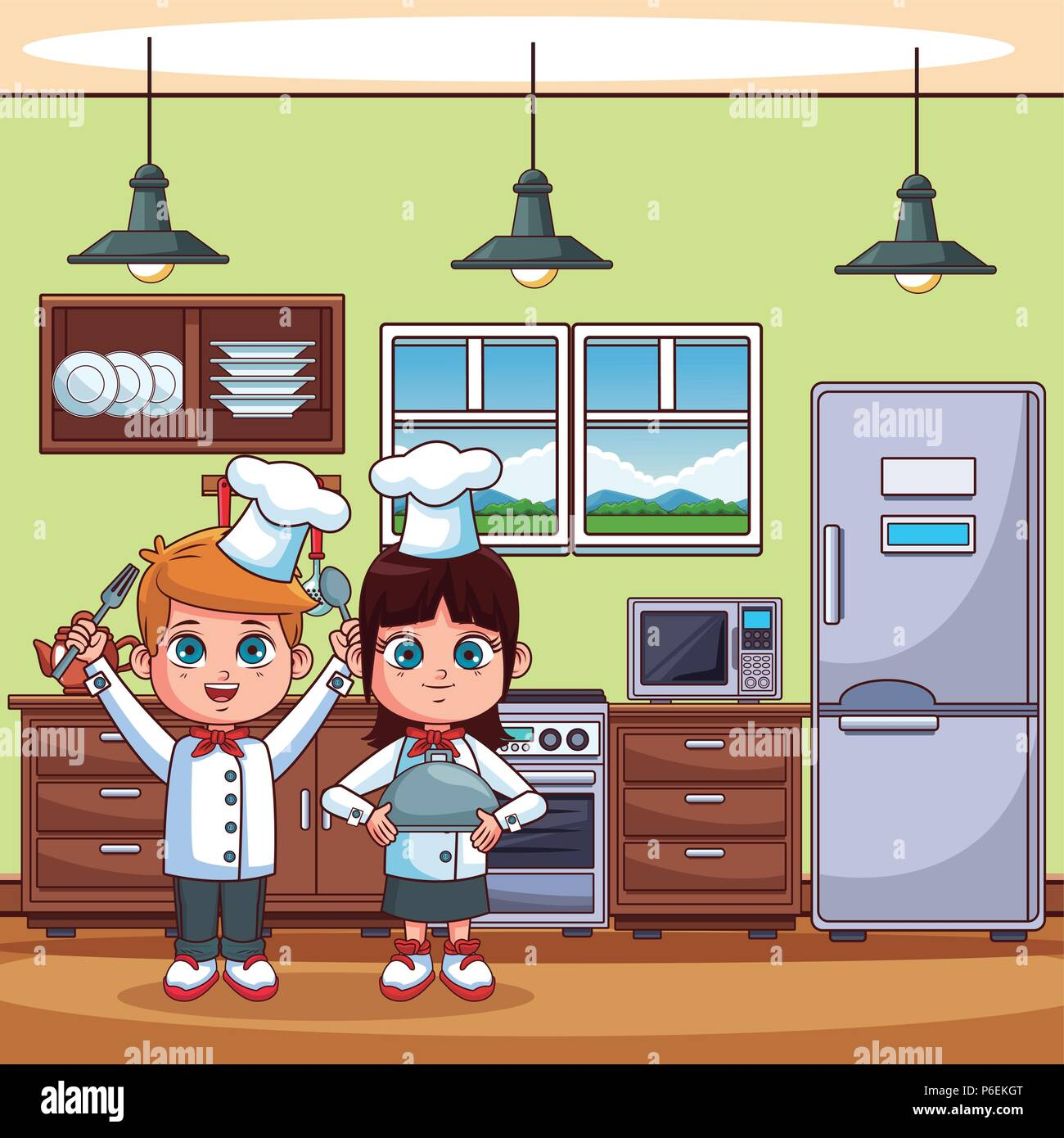 Chef Kids Cooking At Kitchen Cartoons Vector Illustration