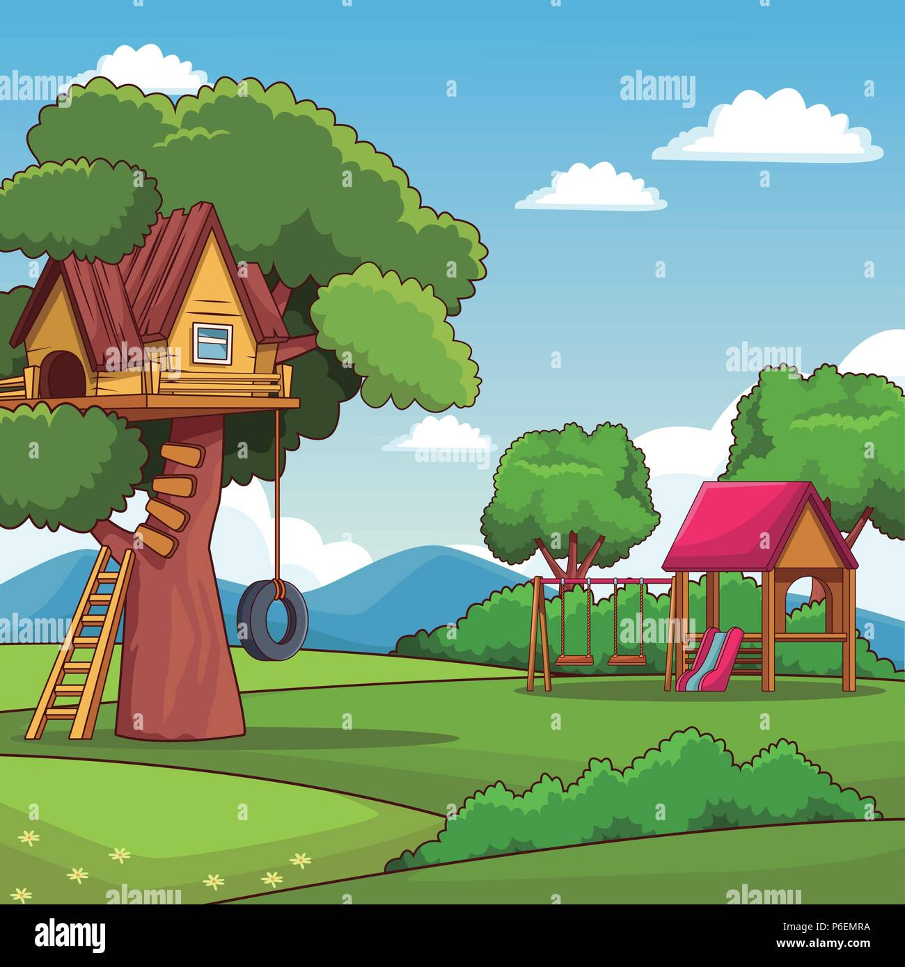 Park With Tree House And Playhouse Scenery Cartoon Vector Illustration Graphic Design Stock Vector Image Art Alamy New users enjoy 60% off. https www alamy com park with tree house and playhouse scenery cartoon vector illustration graphic design image210536014 html