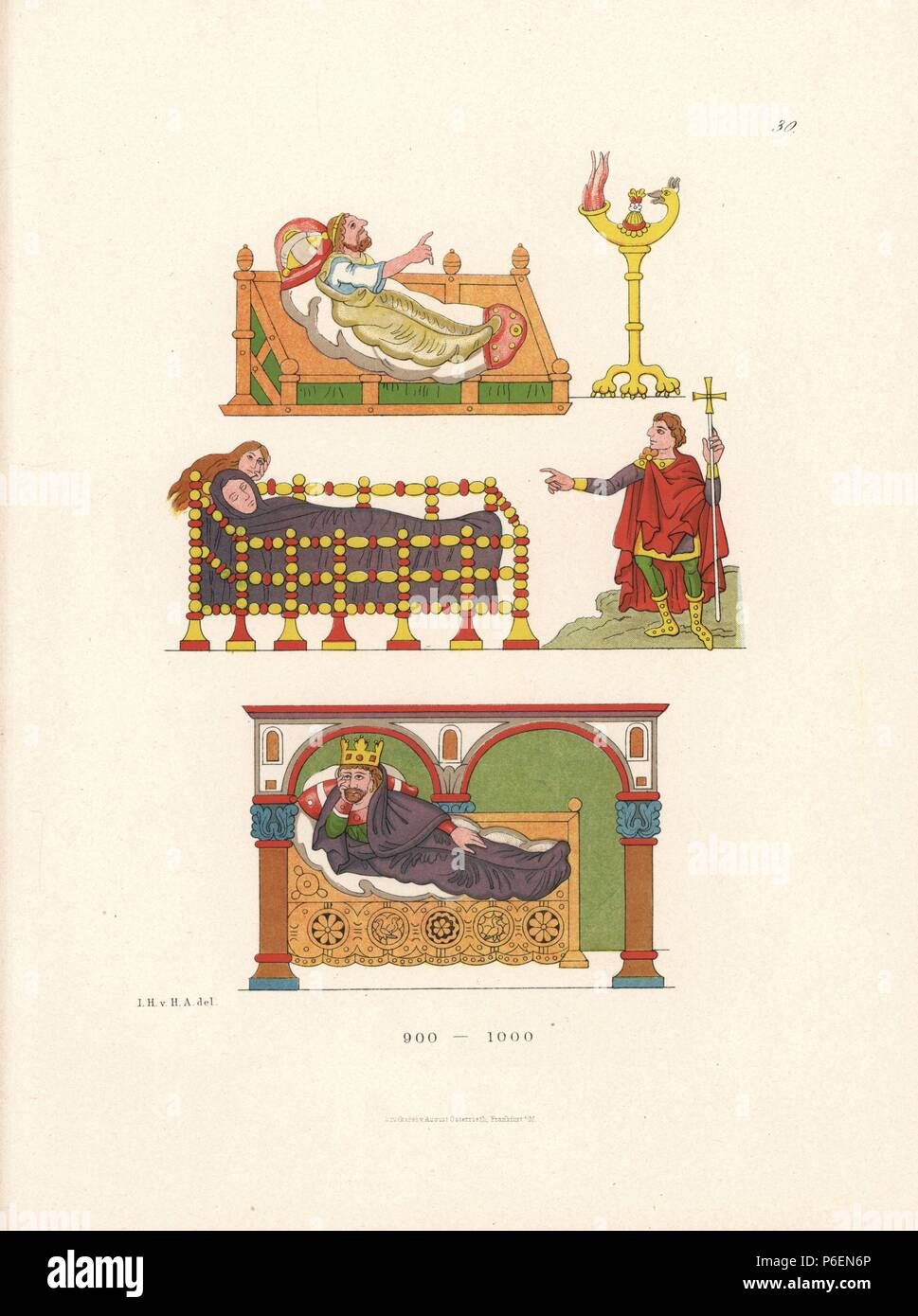 "Bedridden figures (including King David on a day bed below) illustrating the Psalms from an illuminated psalter on parchment in Stuttgart library, 10th century. Chromolithograph from Hefner-Alteneck's ""Costumes, Artworks and Appliances from the Middle Ages to the 17th Century,"" Frankfurt, 1879. Illustration by Dr. Jakob Heinrich von Hefner-Alteneck and published by Heinrich Keller. Hefner-Alteneck (1811 - 1903) was a German museum curator, archaeologist, art historian, illustrator and etcher. Stock Photo"