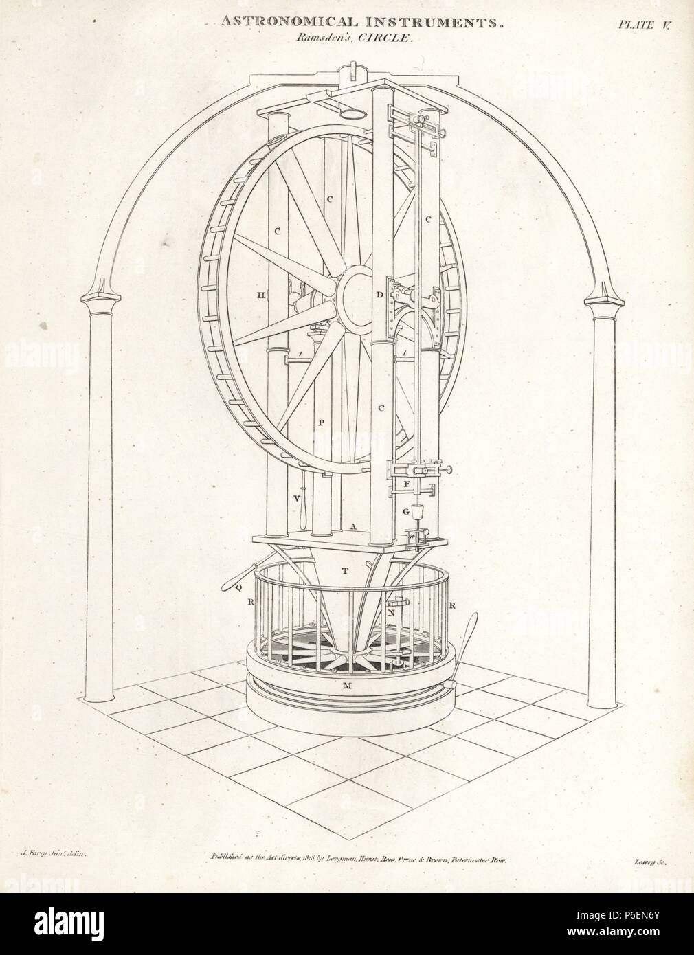 Ramsden's circle, a five-foot high vertical circle finished in 1789 by the English scientific instrument maker Jesse Ramsden. Copperplate engraving by Wilson Lowry after a drawing by J. Farey from Abraham Rees' Cyclopedia or Universal Dictionary of Arts, Sciences and Literature, Longman, Hurst, Rees, Orme and Brown, London, 1820. Stock Photo