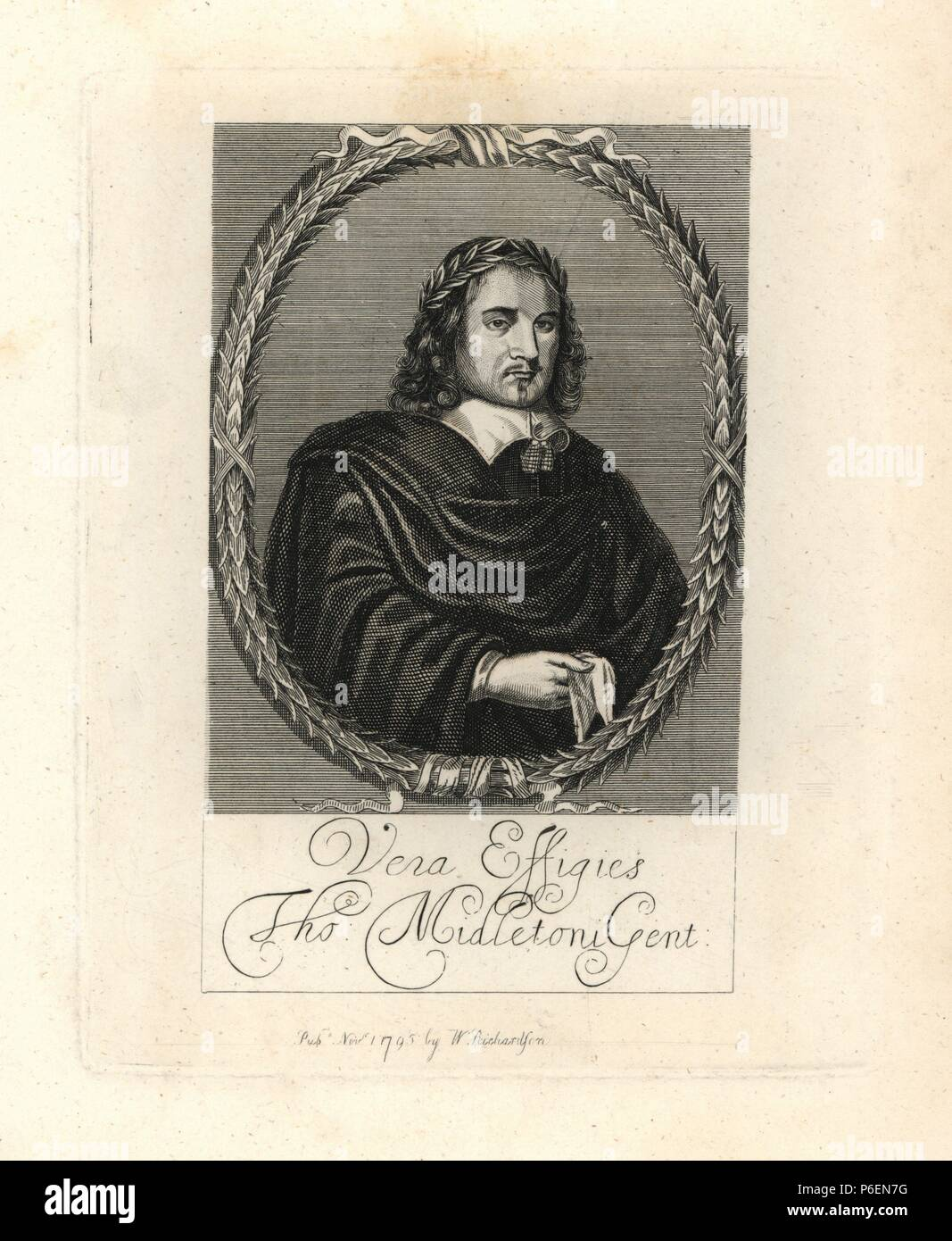 Thomas Middleton, poet. Engraved from a scarce print prefixed to his 'Plays.' Copperplate engraving from Richardson's 'Portraits illustrating Granger's Biographical History of England,' London, 1792–1812. Published by William Richardson, printseller, London. James Granger (1723–1776) was an English clergyman, biographer, and print collector. - Stock Image