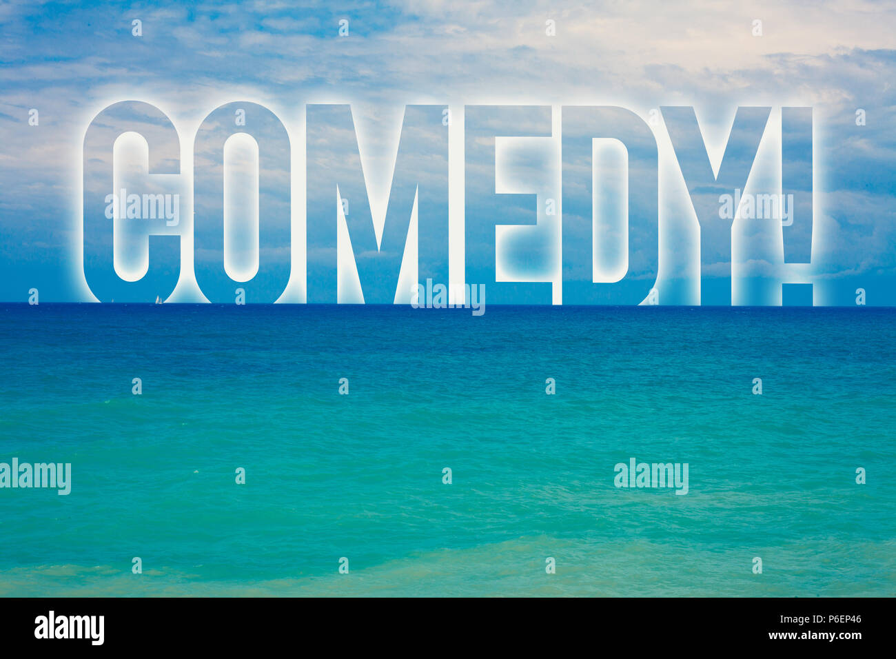 Word writing text Comedy Call. Business concept for Fun Humor Satire Sitcom Hilarity Joking Entertainment Laughing Blue beach water cloudy clouds sky  - Stock Image