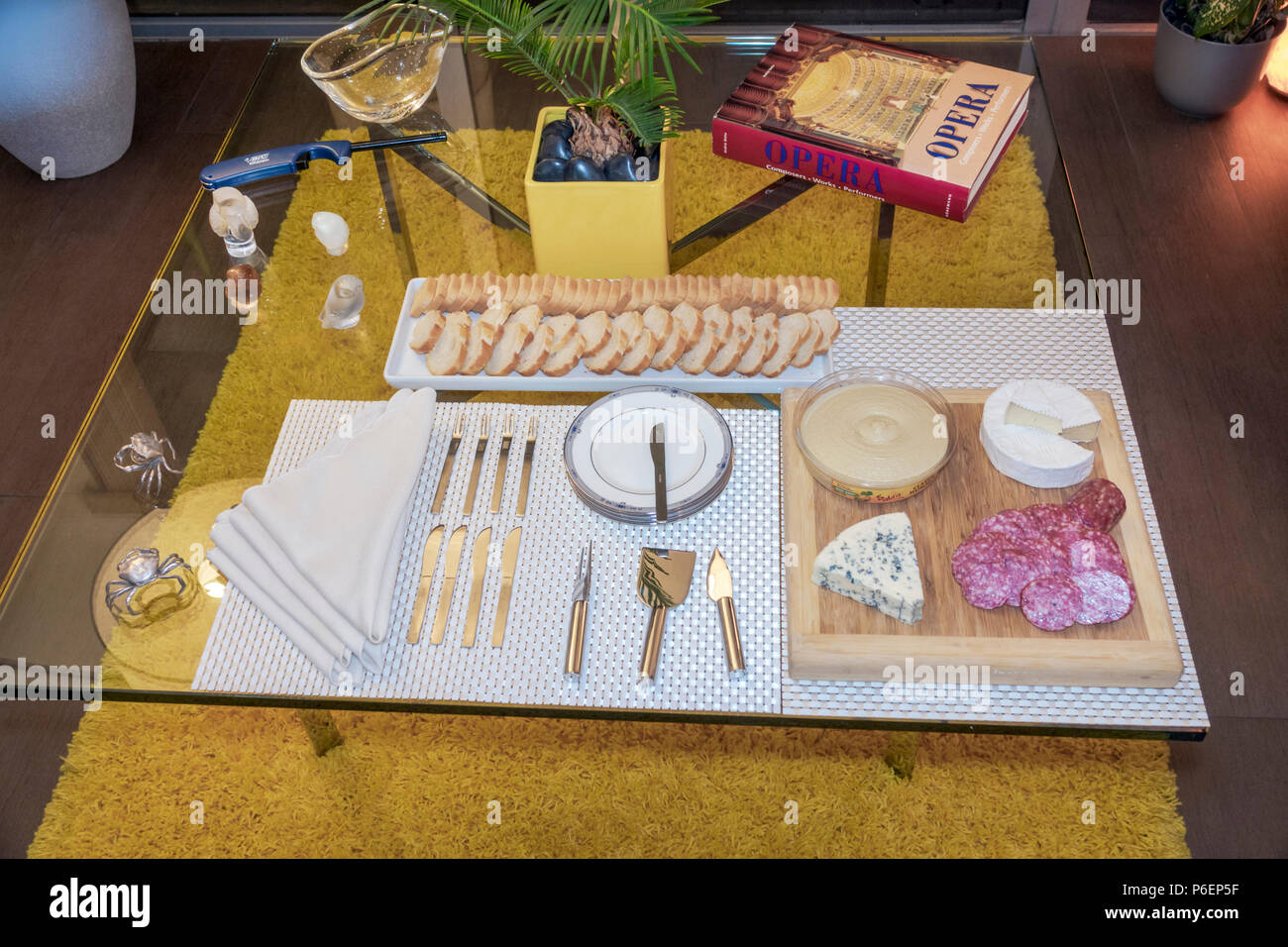 Miami Beach Florida South Bay Club high rise condominium building apartment condo unit hors d'oeuvre appetizer entertaining cheese platter tray - Stock Image