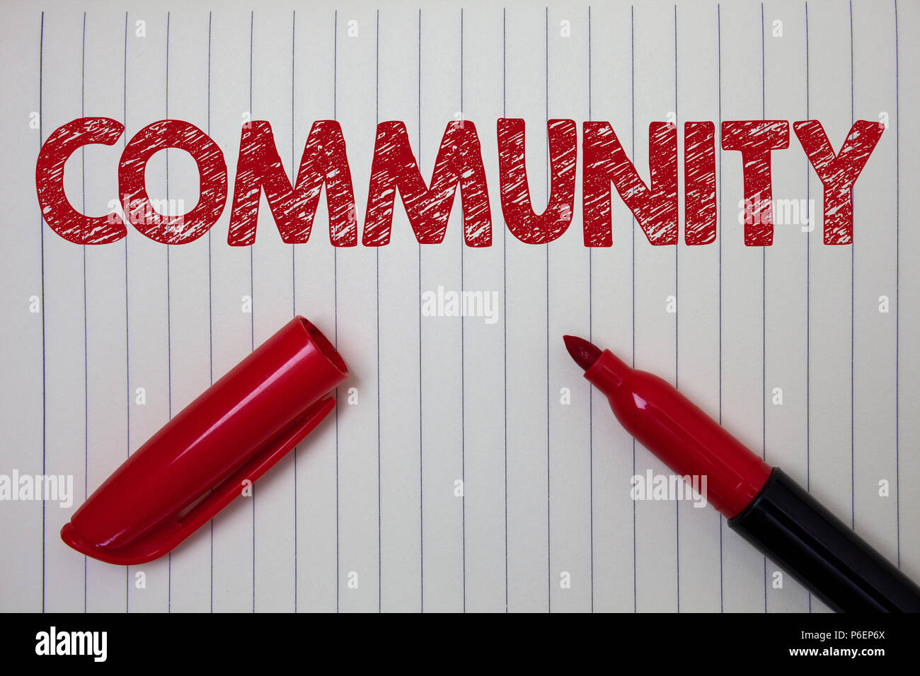 Word writing text Community. Business concept for Neighborhood Association State Affiliation Alliance Unity Group Notebook paper background open marke - Stock Image