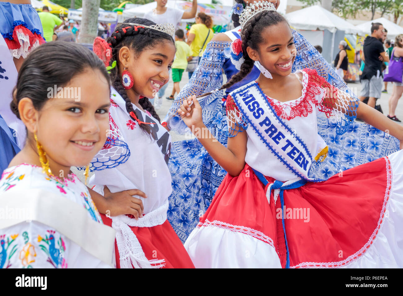 Miami Miami Florida-Dade Expo Center centre Fairgrounds Tamiami Park Junta Hispana Hispanic Festival Latin American event girl teen tween pre-teen bea - Stock Image