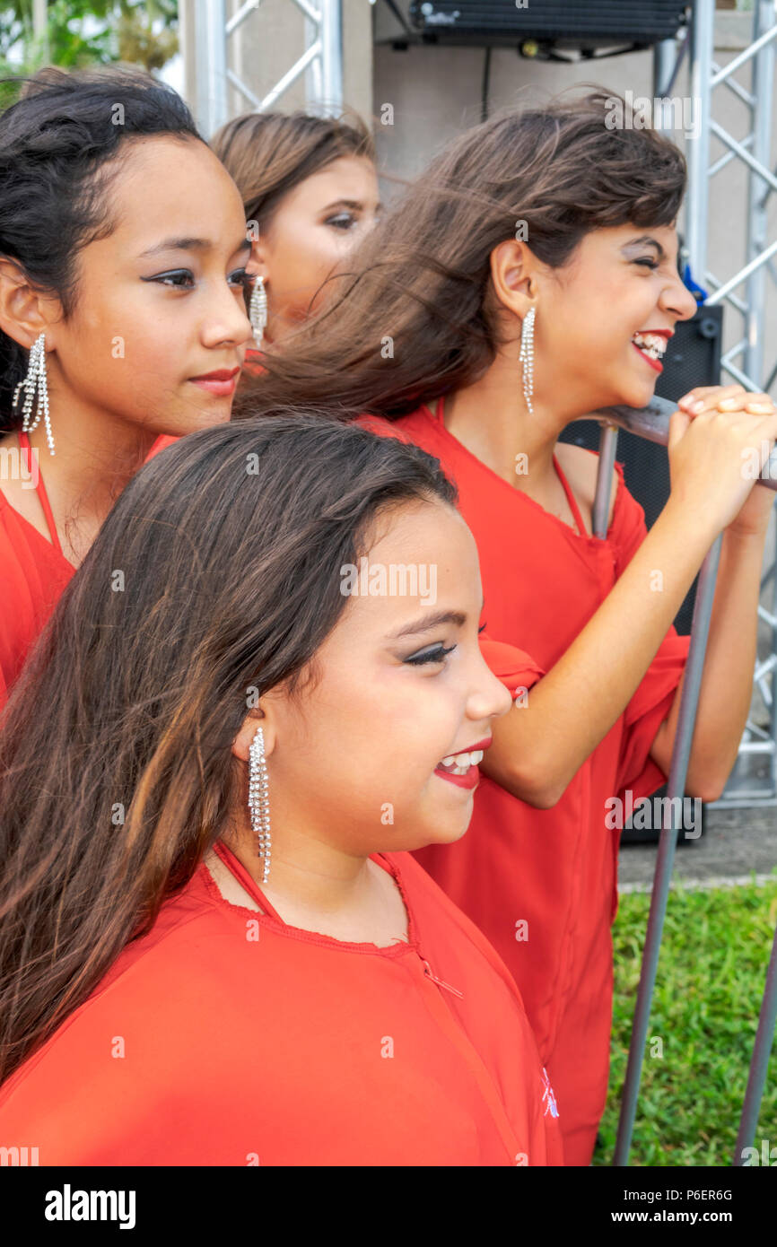 Miami Florida Coral Gables Hispanic Cultural Festival Latin American culture cultural event dance group performers Hispanic girl teen wearing makeup m - Stock Image