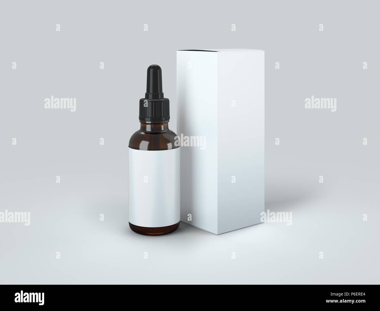 Dropper Bottle with box Mock-Up - Blank Label - Stock Image