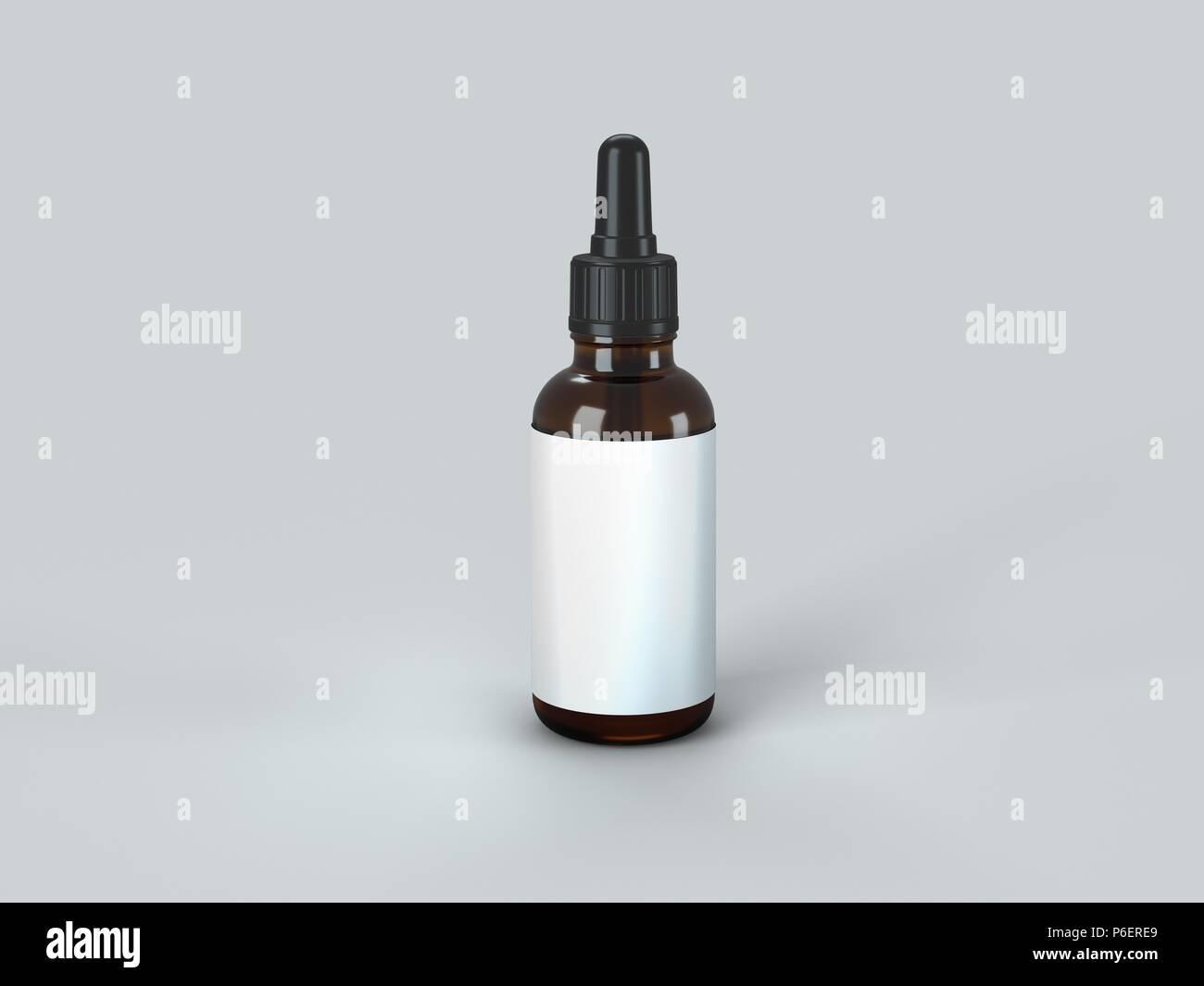 Dropper Bottle Mock-Up - Blank Label - Stock Image