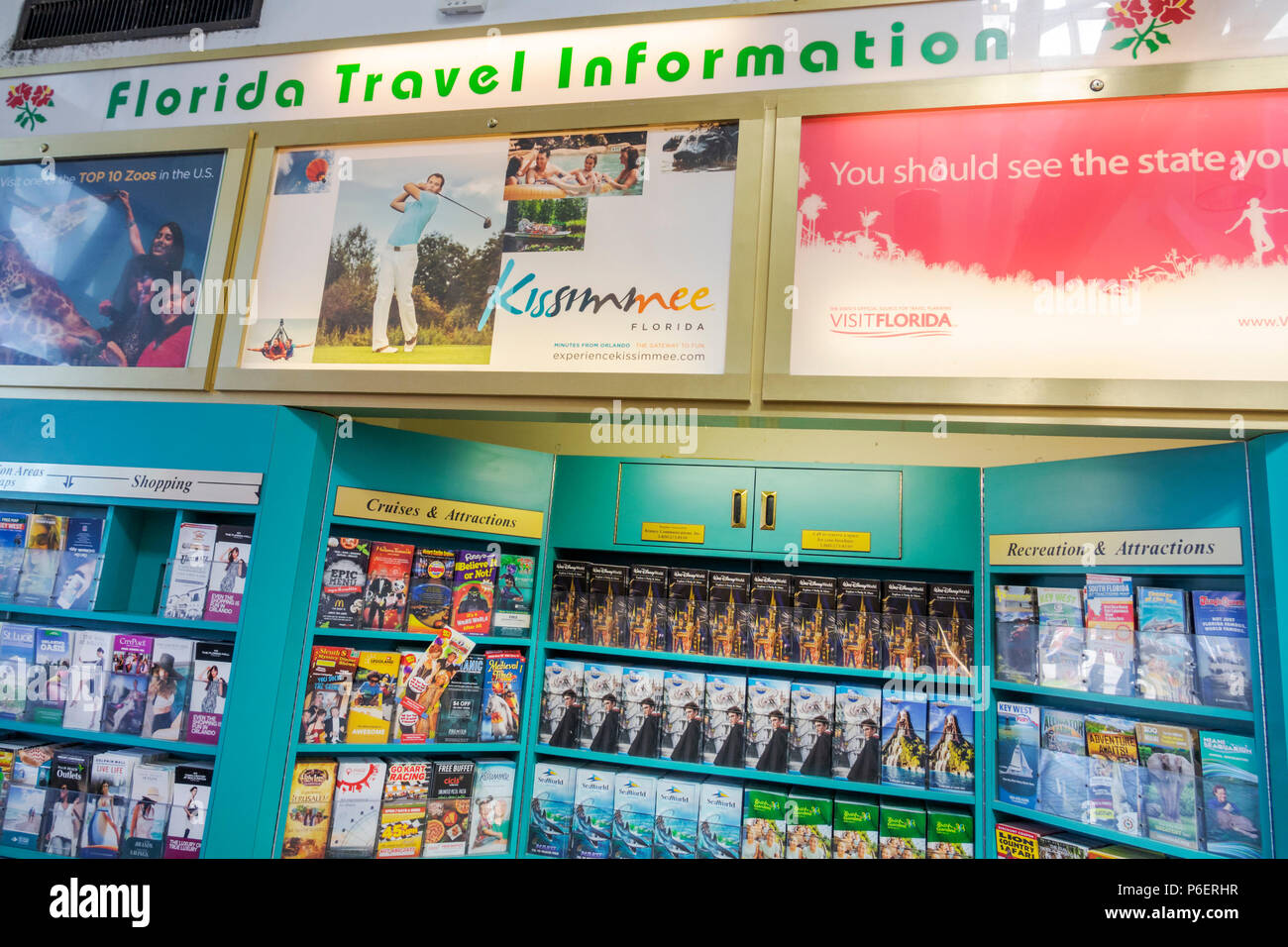 Fort Ft. Pierce Florida Florida Turnpike toll road rest stop travel information brochures attractions free - Stock Image