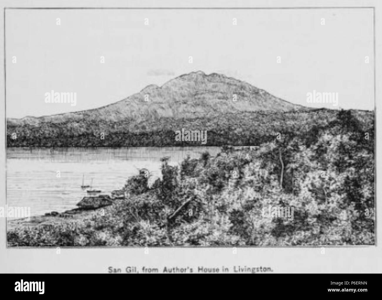 Español: Grabado del libro Guatemala, the land of quetzal de William T. Brigham, publicado en 1887. San Gil, visto desde Livingston. 1884 50 Guatemala land quetzal Brigham 1887 20 Stock Photo