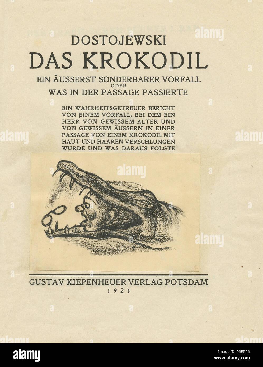 Deutsch: Fjodor Dostojewski: Das Krokodil, illustriert von Rachel Szalit-Marcus, 1921 Titelblatt . 1921 71 Rachel Szalit-Marcus Das Krokodil 1921 Titel - Stock Image