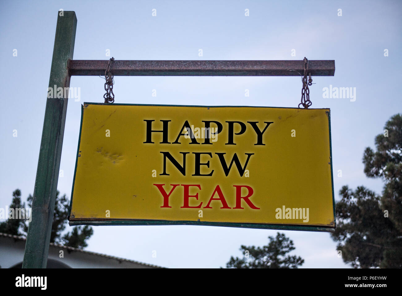 handwriting text happy new year concept meaning congratulations merry xmas everyone beginning of january messages object location yellow banner frame