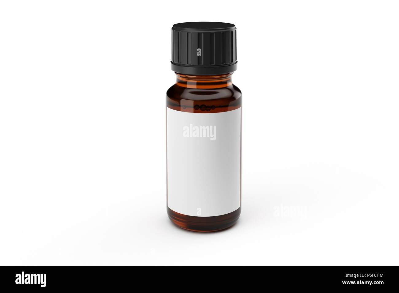 Brown medicine glass dropper bottle with white label isolated - Stock Image