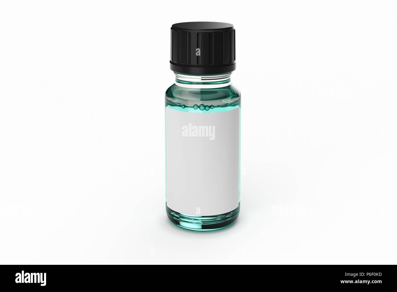 medicine glass dropper bottle with white label isolated - Stock Image