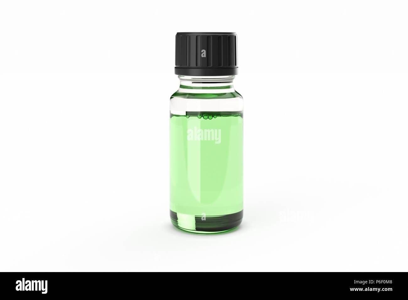 White medicine glass dropper bottle isolated - Stock Image