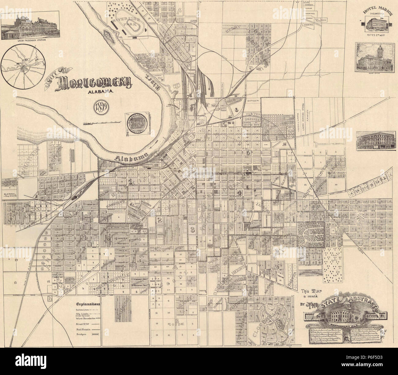 1899 map of Montgomery, Alabama Stock Photo: 210545919 - Alamy