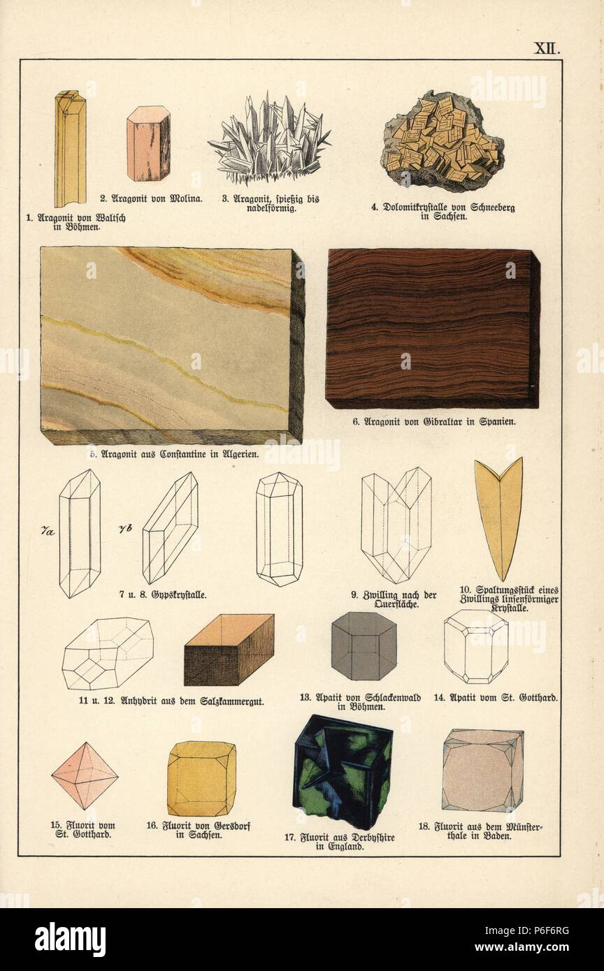 Minerals and crystals including aragonite, dolomite, anhydrite, apatite and fluorite. Chromolithograph from Dr. Aldolph Kenngott's 'Mineralogy' section in Gotthilf Heinrich von Schubert's 'Naturgeschichte,' Schreiber, Munich, 1886. - Stock Image
