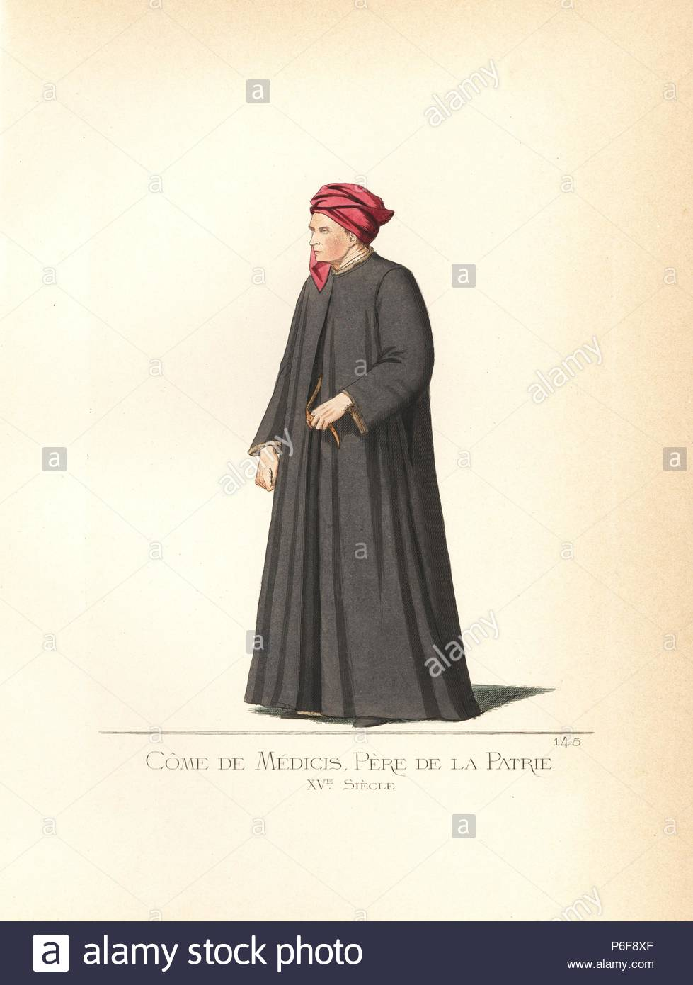 Costume of Cosimo de Medici (1389–1464), father of the nation. He wears a crimson bonnet, black cape over black robe. From a painting by Benozzo Gozzoli in the camposante (graveyard) in Pisa. Handcoloured illustration drawn and lithographed by Paul Mercuri with text by Camille Bonnard from 'Historical Costumes from the 12th to 15th Centuries,' Levy Fils, Paris, 1861. - Stock Image