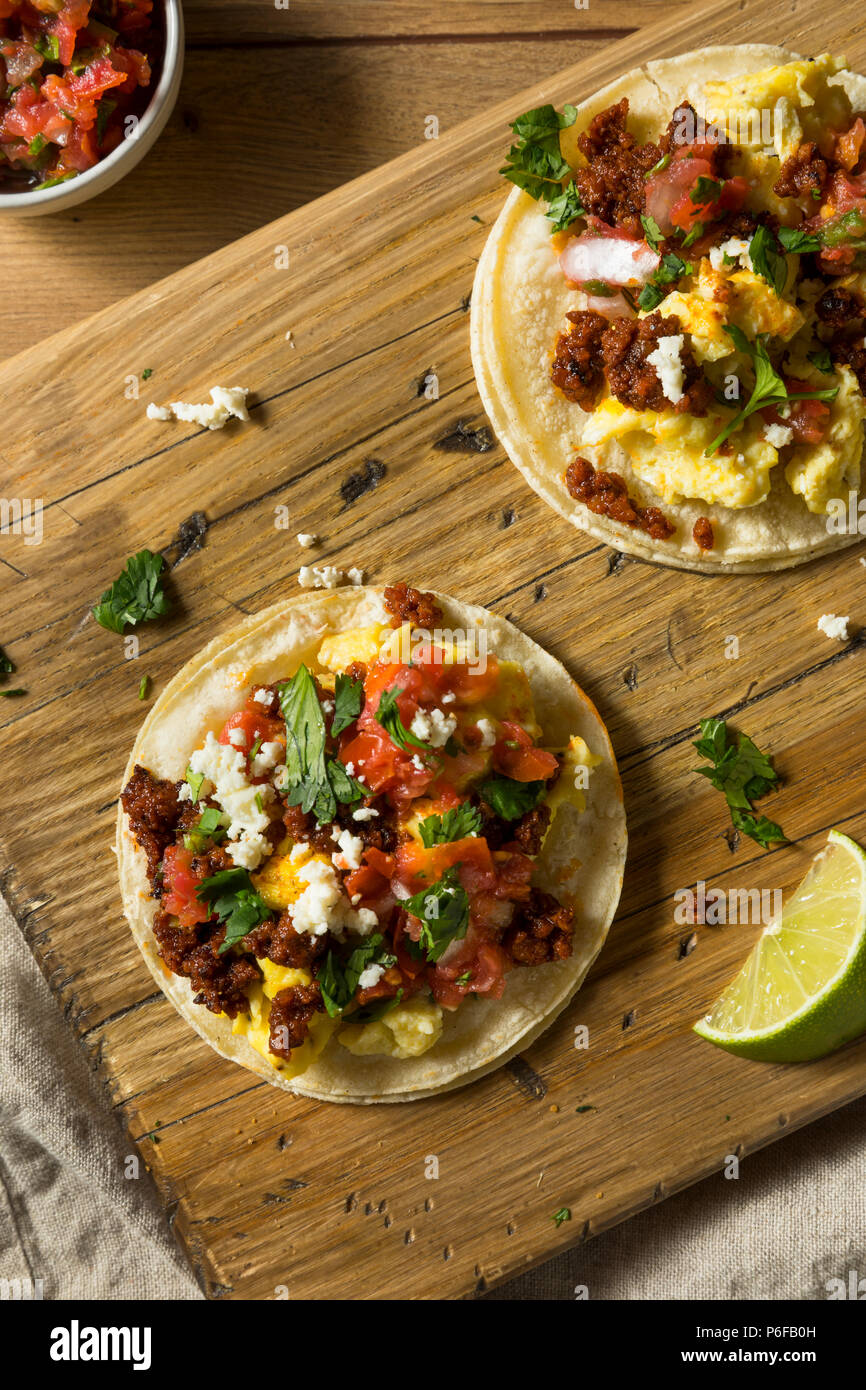 Homemade Chorizo Breakfast Tacos with PIco and Cilantro - Stock Image