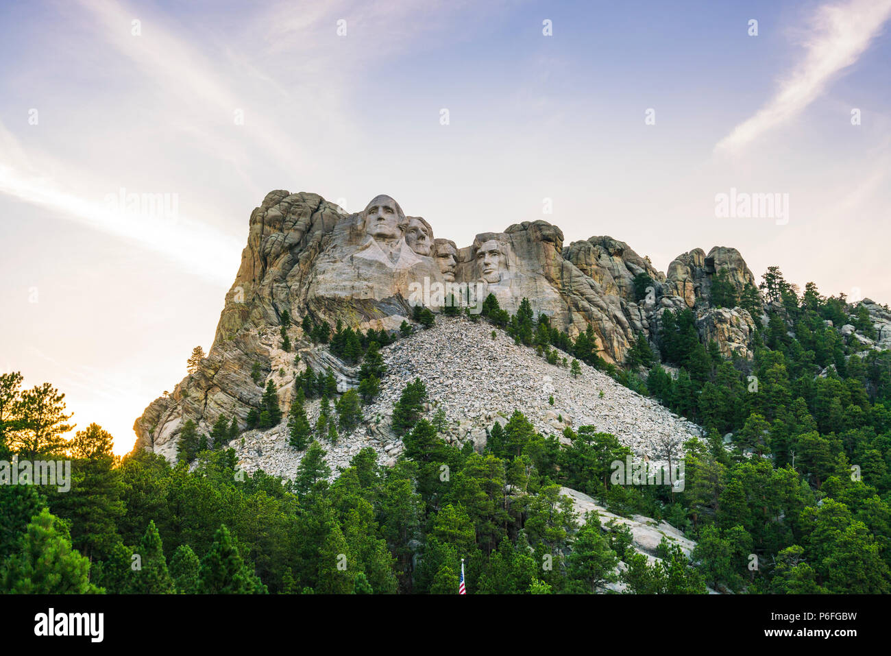 mount Rushmore natonal memorial  at sunset. - Stock Image