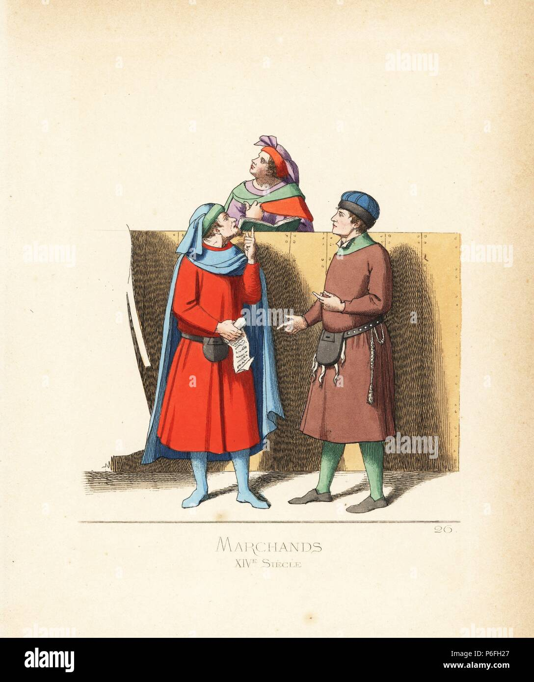 Italian merchants and a judicial notary, 14th century. The notary wears a violet and scarlet bonnet and cape. The left merchant wears a blue cape and hood, scarlet tunic with belt and purse. The right merchant in blue hat with black fur, brown tunic, leather belt and purse. From a manuscript in Siena Library. Handcoloured illustration drawn and lithographed by Paul Mercuri with text by Camille Bonnard from 'Historical Costumes from the 12th to 15th Centuries,' Levy Fils, Paris, 1860. - Stock Image