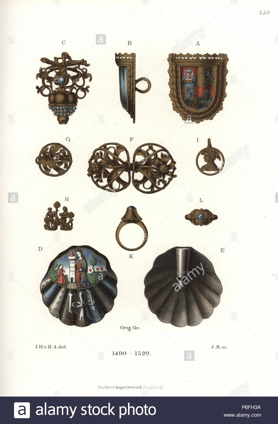Jewelry from the end of the 15th and early 16th centuries. Brooch in the form of a painted shield A,B, bijou C, decorated clamshell clasp D,E, Gothic style girdle fasteners G,F, bust of a woman I, and ring K,L. Chromolithograph from Hefner-Alteneck's 'Costumes, Artworks and Appliances from the Middle Ages to the 17th Century,' Frankfurt, 1889. Illustration by Dr. Jakob Heinrich von Hefner-Alteneck, lithographed by J.M. Dr. Hefner-Alteneck (1811 - 1903) was a German museum curator, archaeologist, art historian, illustrator and etcher. - Stock Image