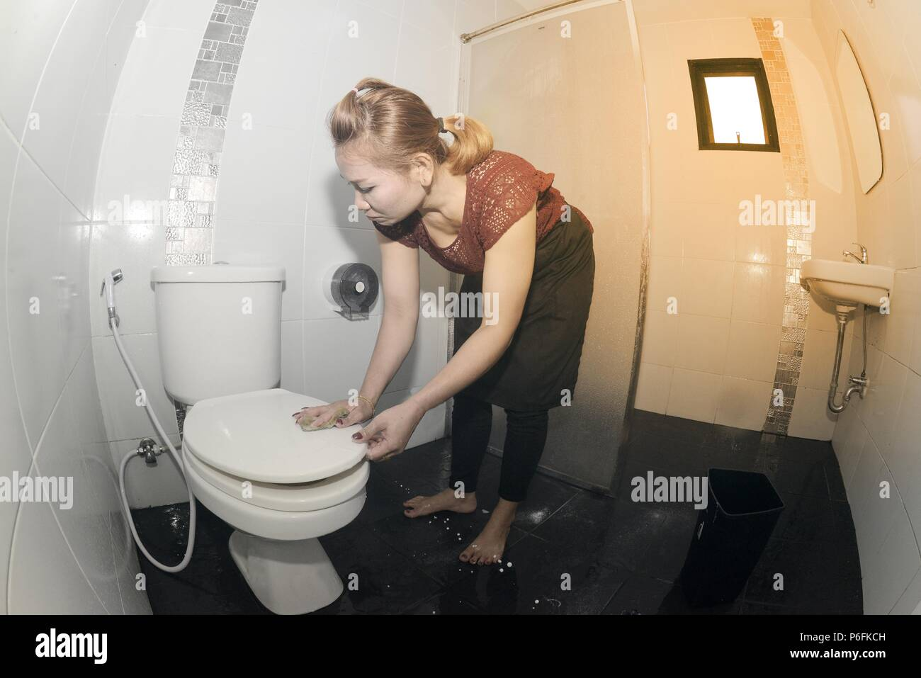 Asian maid or housekeeper cleaning on water closet in toilet. - Stock Image