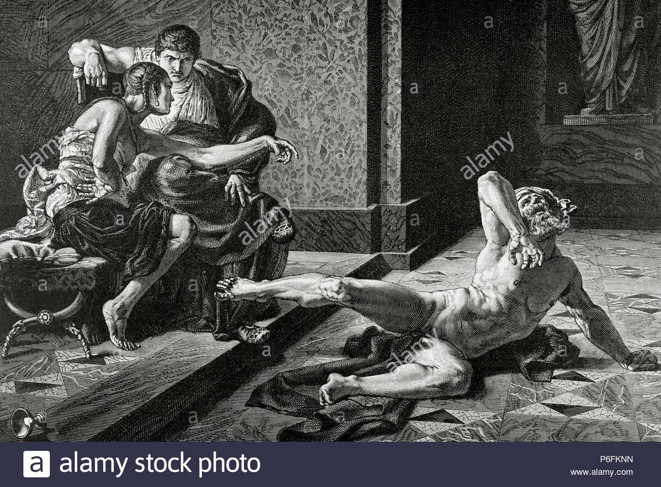 Locusta. Notorious in Ancient Rome for her skill in concocting poisons. Nero and Locusta. Engraving by Duviviso. 19th century. - Stock Image