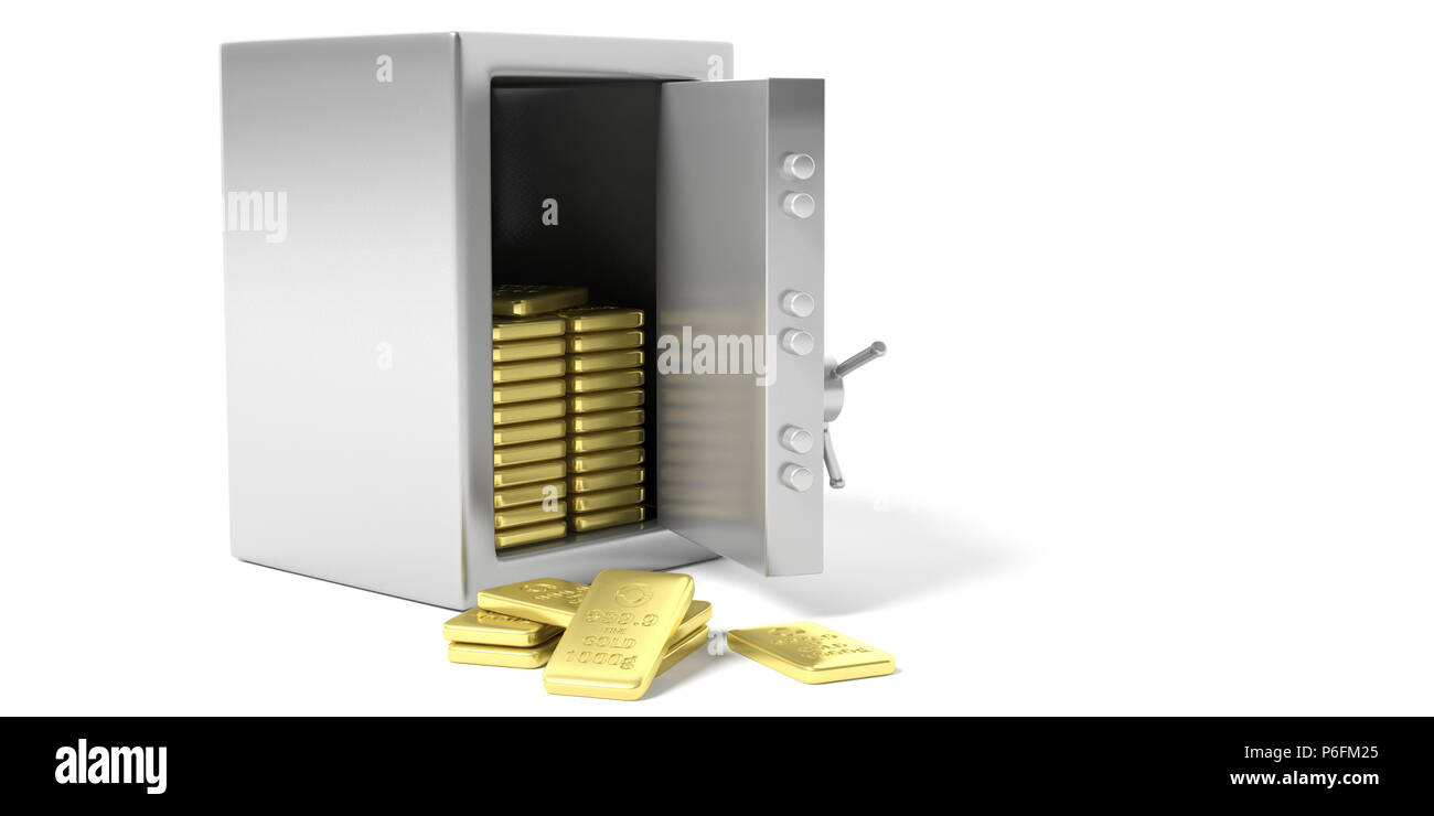 Fortune safety concept. Safety vault with gold bullion isolated on a white background. 3d illustration. - Stock Image