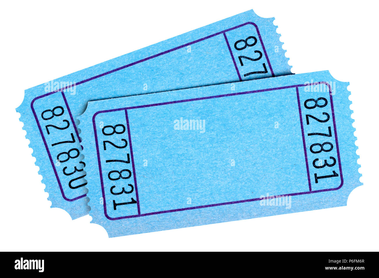 pair of blank blue movie or raffle tickets isolated on white