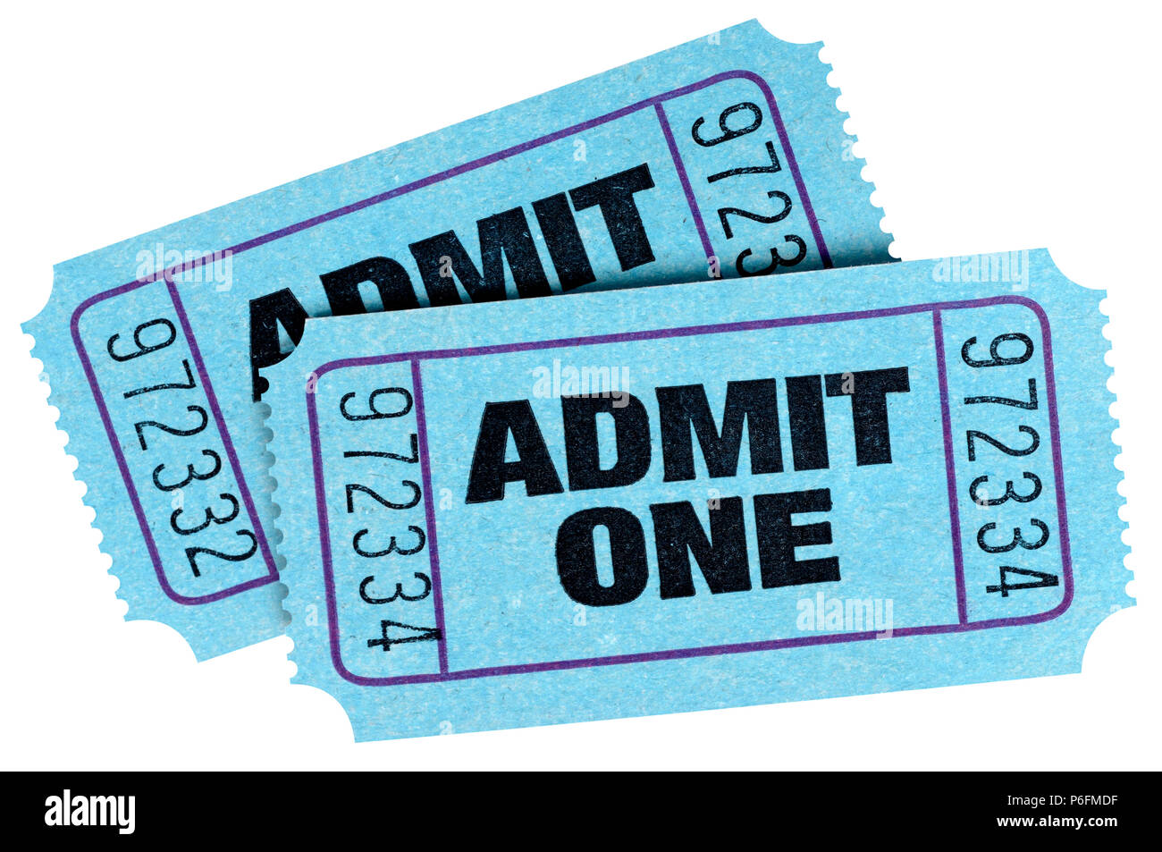 two blue admit one tickets isolated on white background stock photo