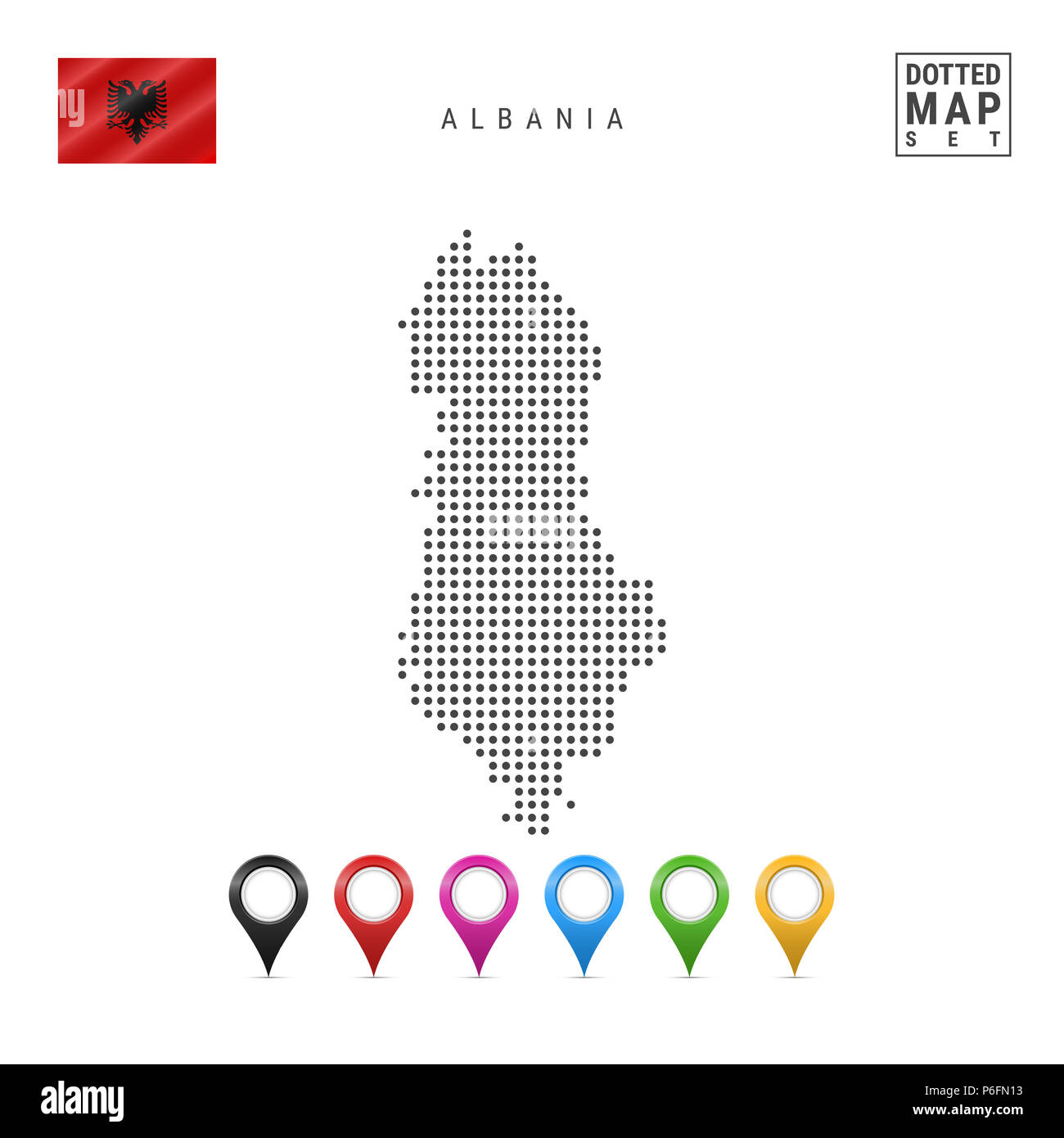 Dotted Map of Albania. Simple Silhouette of Albania. The National Flag of Albania. Set of Multicolored Map Markers. Illustration Isolated on White Bac - Stock Image