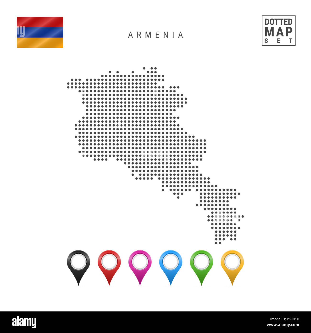 Dotted Map of Armenia. Simple Silhouette of Armenia. The National Flag of Armenia. Set of Multicolored Map Markers. Illustration Isolated on White Bac Stock Photo