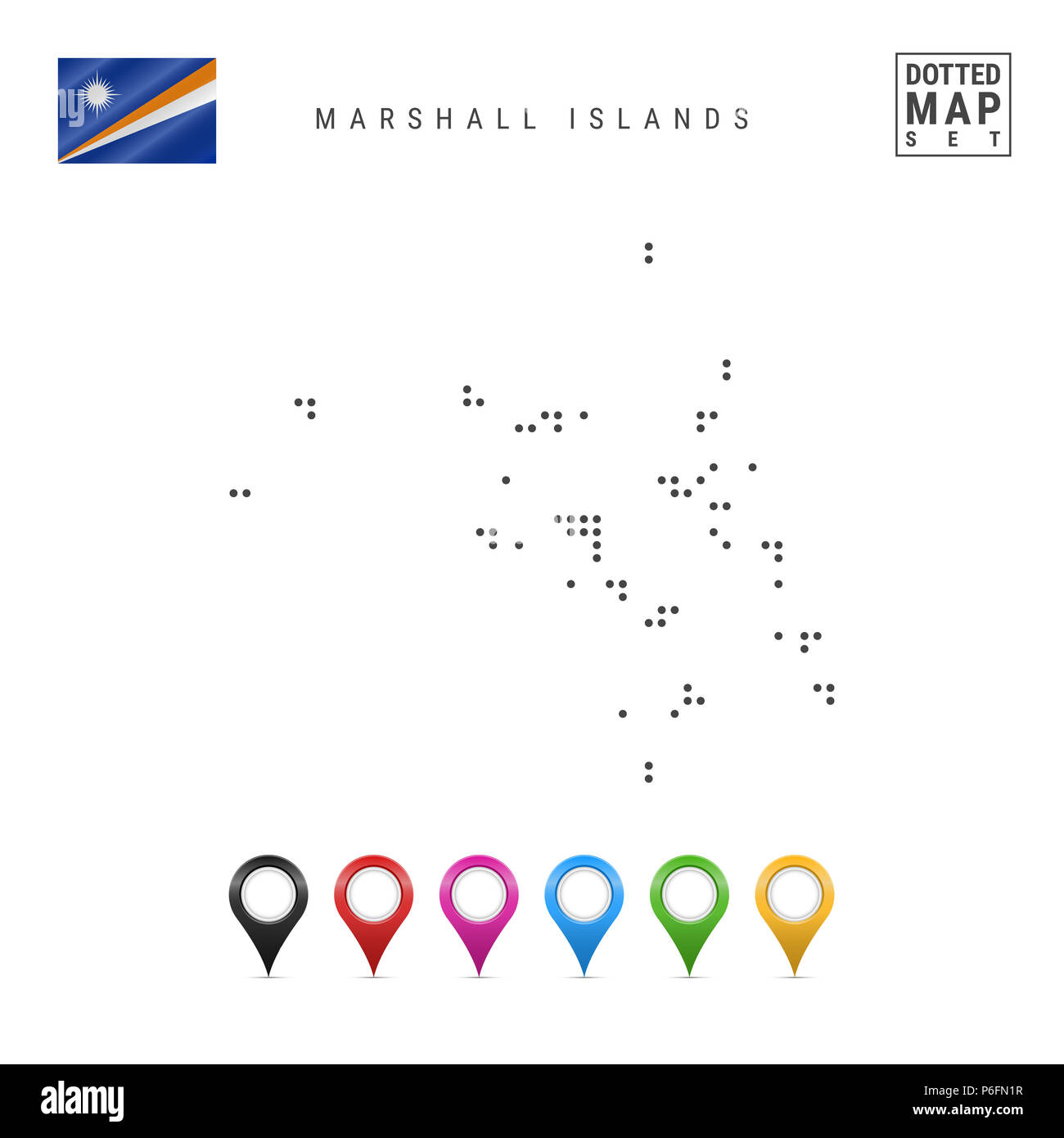 Dotted Map of Marshall Islands. Simple Silhouette of Marshall Islands. The National Flag of Marshall Islands. Set of Multicolored Map Markers. Illustr - Stock Image