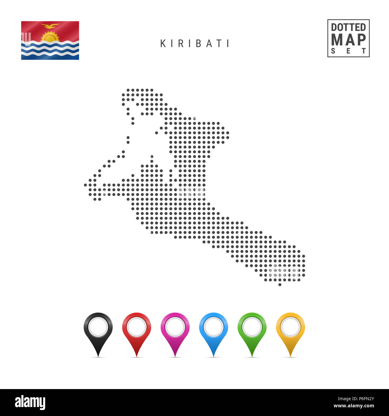 Dotted Map of Kiribati. Simple Silhouette of Kiribati. The National Flag of Kiribati. Set of Multicolored Map Markers. Illustration Isolated on White  - Stock Image