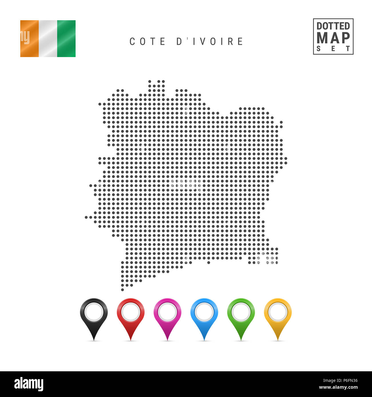 Dotted Map of Cote D'Ivoire. Simple Silhouette of Cote D'Ivoire. The National Flag of Cote D'Ivoire. Set of Multicolored Map Markers. Illustration Iso - Stock Image