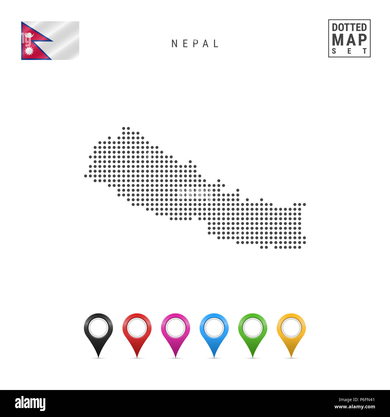 Dotted Map of Nepal. Simple Silhouette of Nepal. The National Flag ...
