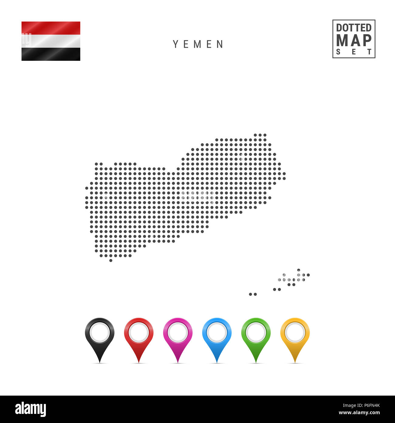 Dots Pattern Map of Yemen. Stylized Simple Silhouette of Yemen. The National Flag of Yemen. Set of Multicolored Map Markers. Illustration Isolated on  - Stock Image