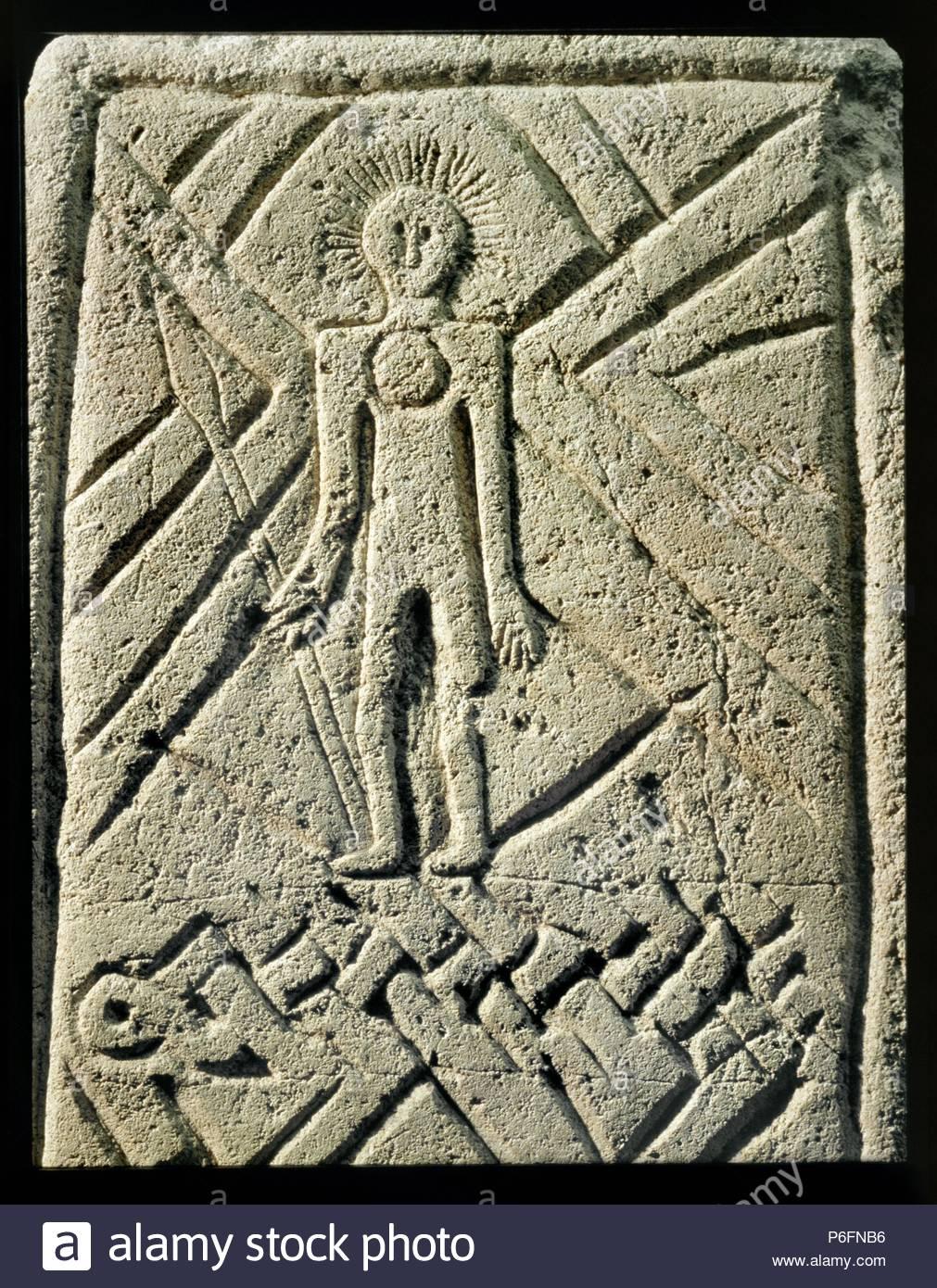 Frankish stone funerary monument 7th century showing stylised figure of Jesus Christ. Museum: Rheinishches Landesmuseum. - Stock Image