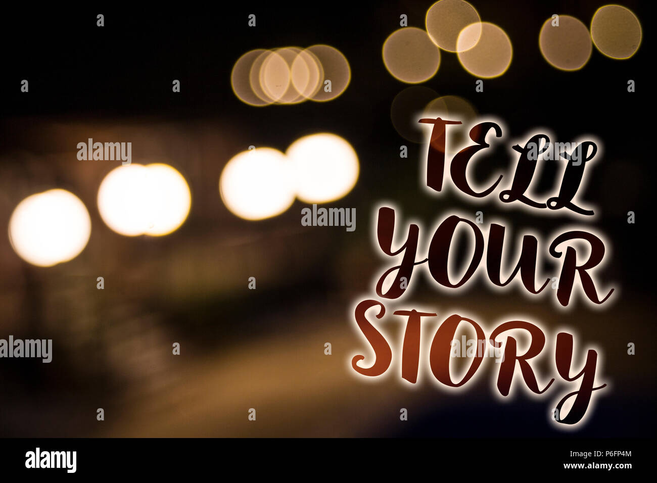 Conceptual hand writing showing Tell Your Story. Business photo showcasing expressing your feelings Narrating writing your biography Nightlight enligh - Stock Image