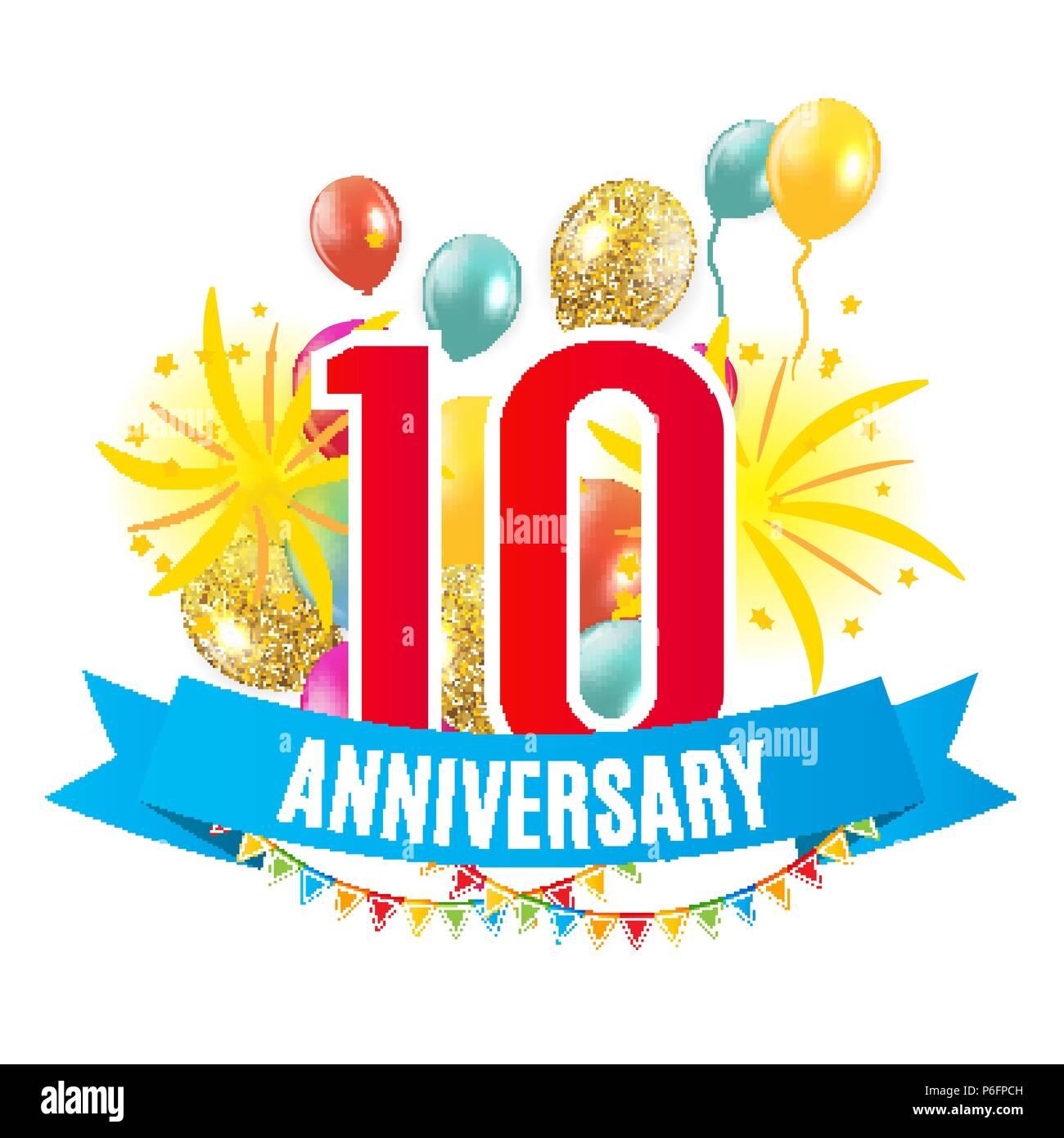 Anniversario 10 Anni Matrimonio.Template 10 Years Anniversary Congratulations Greeting Card With