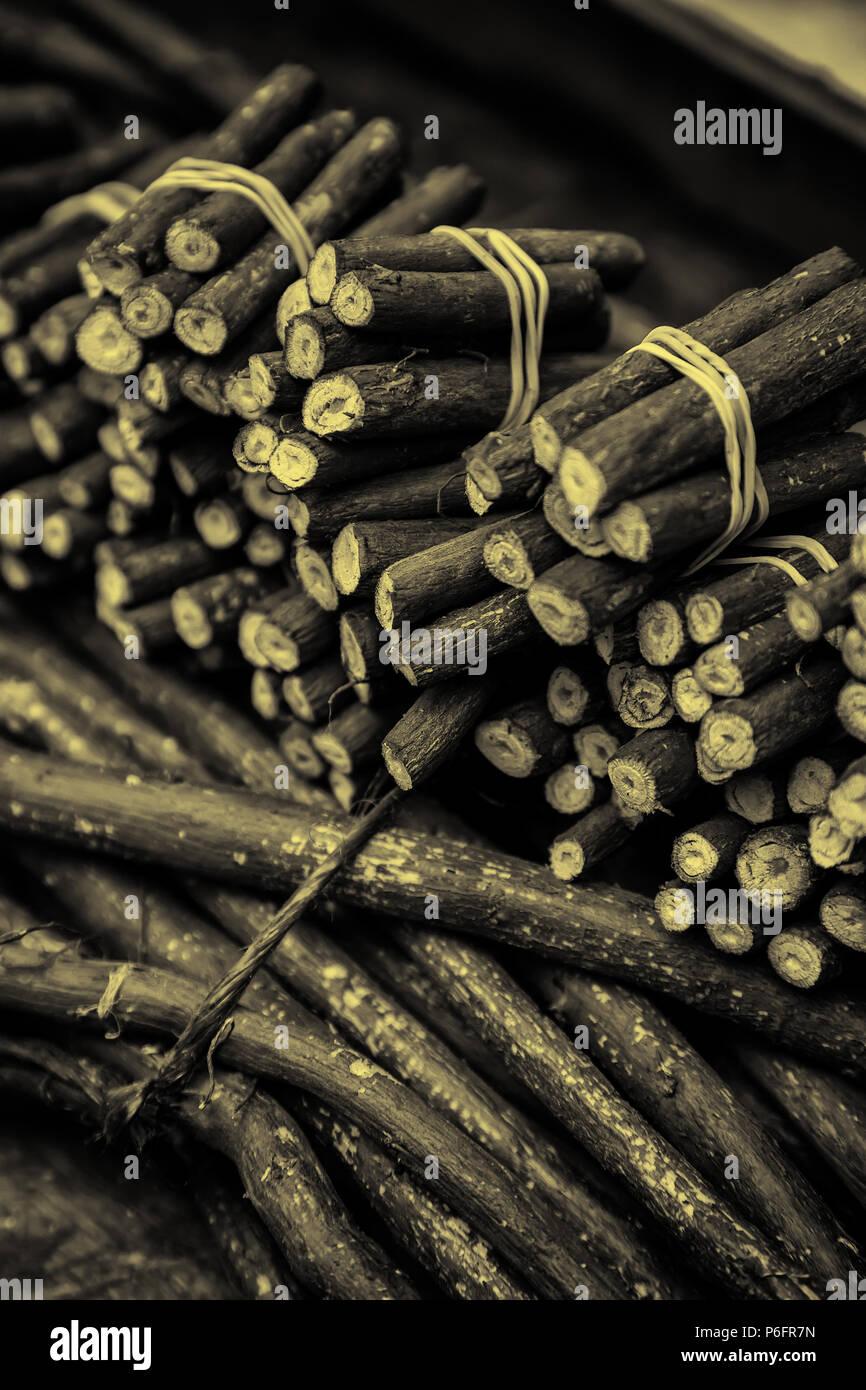 Dry licorice sticks, flavor detail, intense Stock Photo