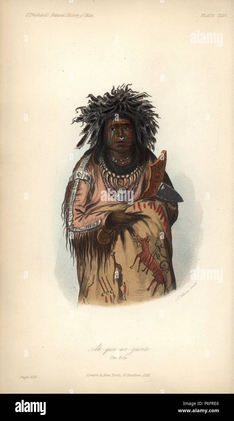 A-quee-we-zaints, the Boy Chief, Ojibwe nation. One of the troupe of nine Ojibwe people who traveled to England in 1844. In feather headdress, buckskin shirt, necklace of teeth, with tomahawk. Handcoloured lithograph by J. Harris after an illustration by George Catlin from James Cowles Prichard's Natural History of Man, Balliere, London, 1855. - Stock Image