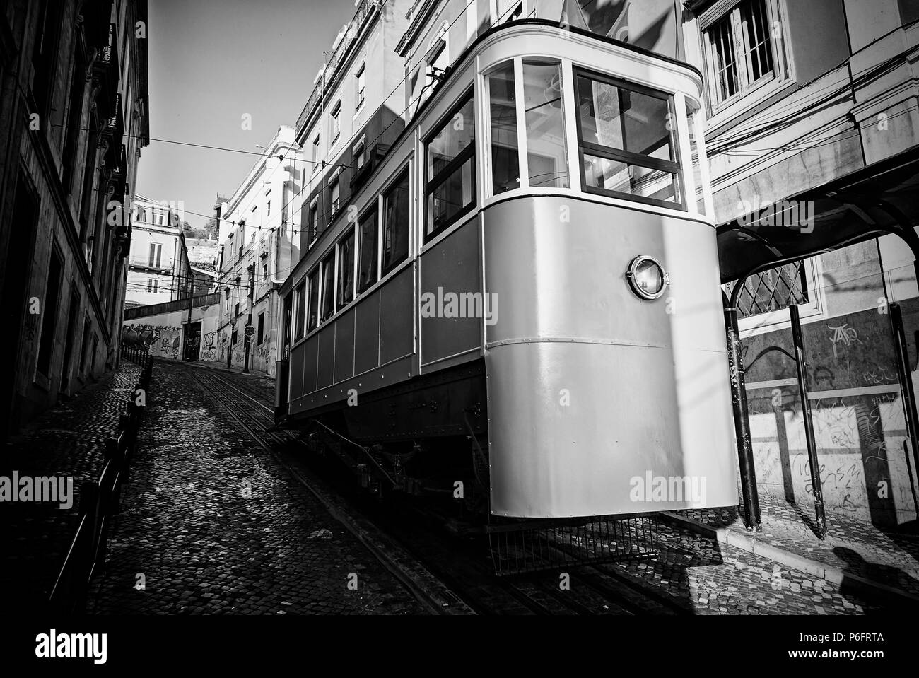 Ancient and Old Lisbon tram, detail of an ancient means of transportation around the city, monument of Lisbon - Stock Image