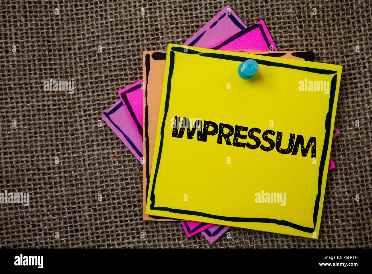 Word writing text Impressum. Business concept for Impressed Engraved Imprint German statement ownership authorship Papers Ideas messages important to  - Stock Image